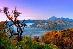 Vulcani nel parco nazionale di Bromo Tengger Semeru ad alba java fotografie stock