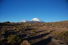 Vulcani nella sosta nazionale di Lauca - Cile Fotografia Stock Libera da Diritti