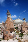 Vulcanic columns relief in Cappadocia. The tallest fairy chimneys, some multi-coned, attract many tourists in Pasa Baglari royalty free stock image