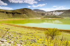 Vulcanic lake with blue sky and clouds Royalty Free Stock Photo
