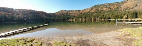 Vulcanic lake panorama Stock Photo