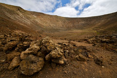 Vulcanic timanfaya  rock stone sky  hill and summer in los volca Royalty Free Stock Images