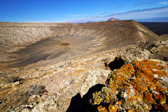 Vulcanic timanfaya  rock stone sky  lanzarote Royalty Free Stock Image