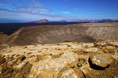 Vulcanic timanfaya  rock stone and summer in los volcanes lanzar Stock Photos