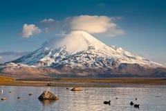 Vulcano alla riva del lago Fotografia Stock