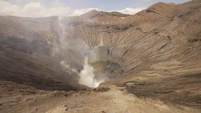 Vulcano attivo con un cratere Gunung Bromo, Jawa, Indonesia Immagini Stock Libere da Diritti
