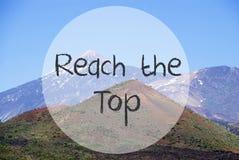 Vulcano-Berg, englische Text-Reichweite die Spitze stockbilder
