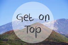 Vulcano-Berg, Text erhalten auf die Oberseite Stockfotos