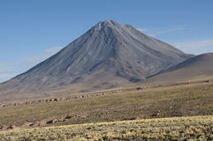 Vulcano conico nelle Ande, Cile Immagine Stock