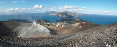 Vulcano crater and Aeolian islands near Sicily. Aeolian islands seen from the Grand crater of Vulcano island near Sicily, Italy Royalty Free Stock Image