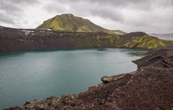 Vulcano crater with water in Iceland. Barrenness in Iceland, vulcano crater with water stock photos