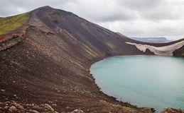 Vulcano crater with water in Iceland. Barrenness in Iceland, vulcano crater with water stock photo