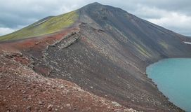 Vulcano crater with water in Iceland. Barrenness in Iceland, vulcano crater with water royalty free stock photography