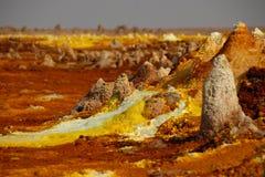 Vulcano Dallol i den Danakil efterrätten Arkivbilder