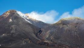 Vulcano dell'Etna del supporto nell'azione Fotografia Stock Libera da Diritti
