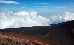 Vulcano dell'Etna del supporto nell'azione Immagini Stock