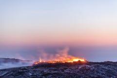 Vulcano della birra inglese di Erta, Etiopia Immagini Stock