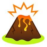 Vulcano di Explosing con lava Immagine Stock Libera da Diritti