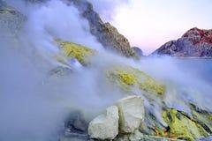 Vulcano di Kawah Ijen, Java, Indonesia Fotografie Stock Libere da Diritti