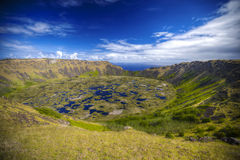 Vulcano di Rano Kau Fotografia Stock