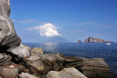 Vulcano di Stromboli Fotografie Stock Libere da Diritti