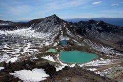 Vulcano e laghi di osservazione dell'uomo Fotografia Stock Libera da Diritti