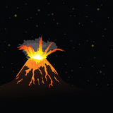 Vulcano erupting and night sky in background () Stock Photo