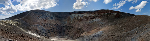 Vulcano island, the big crater. Panaroma of the big crater in Vulcano island Royalty Free Stock Images
