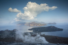 Vulcano island, italy. The incredible vulcano island off the coast of Sicily, Italy. vulcano has constant sulphurous fumes coming up through its vents in the Stock Photo