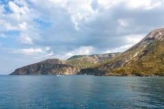 View of Vulcano Island. Vulcano Island seen from the sea, Aeolian Islands, Italy Stock Photo
