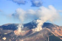 Vulcano nel Giappone, Hokkaido, a nord del Giappone fotografia stock libera da diritti