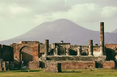 Vulcano Vesuvius seen from the ruins of Pompeii Royalty Free Stock Photography