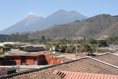 Vulconos Fuego and Acatenango near Antigua. On Guatemala royalty free stock image