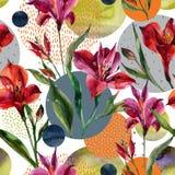 Vulden de waterverf decoratieve bloemen en de bladeren, cirkelvormen met watercolour, minimale krabbeltexturen op achtergrond Stock Afbeeldingen