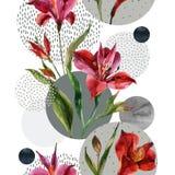 Vulden de waterverf decoratieve bloemen en de bladeren, cirkelvormen met watercolour, minimale krabbeltexturen op achtergrond Stock Afbeelding