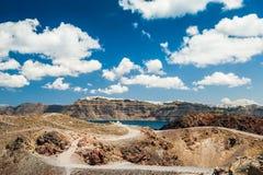 Vulkaan dichtbij het Santorini-eiland, Griekenland Stock Foto's
