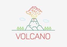 Vulkaan die de dunne elementen van het het ontwerpembleem van het lijnpictogram vlakke exploderen Stock Foto