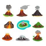 Vulkaan vastgestelde vectorillustratie Stock Foto's