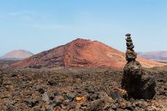 Vulkaanlanzarote blauwe hemel Royalty-vrije Stock Afbeelding