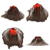 Vulkaanlava zonder rook op isolatedbackground 3D Illustratie stock fotografie