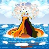 Vulkan auf Insel Stockbilder