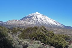 Vulkan EL Teide und Montana Blanca, Teneriffa, Kanarische Inseln stockfoto