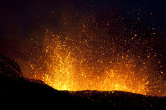Vulkan-Eruption, fimmvorduhals Island stockbilder