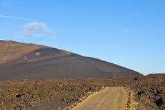 vulkan för lanzarote nationalparktimanfaya Arkivbilder