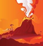 Vulkan mit brennender Lava Lizenzfreies Stockfoto