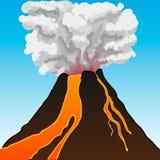 Vulkan som flödar med lavavektorillustrationen Arkivbilder