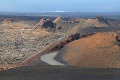 Vulkanen, het Nationale Park van Timanfaya, Lanzarote, Spanje Royalty-vrije Stock Foto