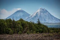Vulkanen Kamen en Kluchevskoy, Kamchatka Stock Afbeeldingen