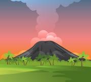 Vulkanen met rook, groene gras en palmen Stock Afbeelding