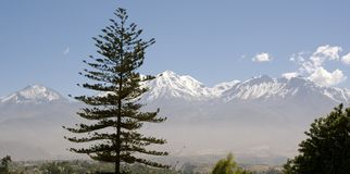 Vulkanen Misti en Chachani, Peru Stock Afbeelding